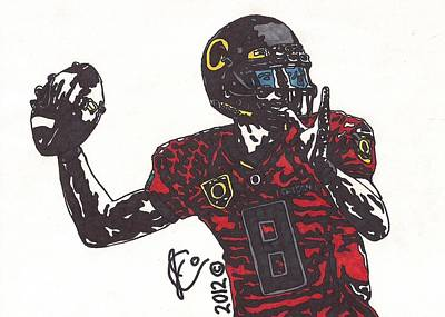 Football Art Drawing - Marcus Mariota 1 by Jeremiah Colley