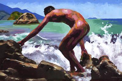 Homo Painting - Marcus On The Rocks by Douglas Simonson