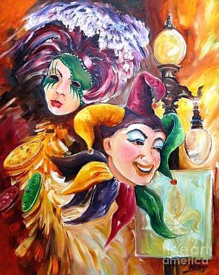 Jester Painting - Mardi Gras Images by Diane Millsap