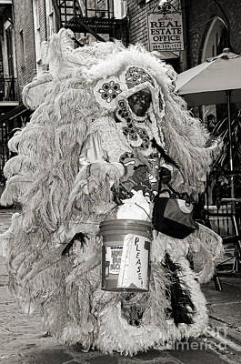 South Louisiana Photograph - Mardi Gras Indian In Pirates Alley In Black And White by Kathleen K Parker