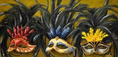 Mardi Gras Painting - Mardi Gras Masks by Sherry Kuespert