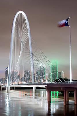 Dallas Photograph - Margaret Hunt Hill Bridge Flag by Rospotte Photography