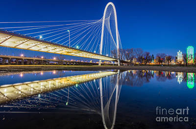 Dallas Photograph - Margaret Hunt Hill Bridge Reflection by Inge Johnsson