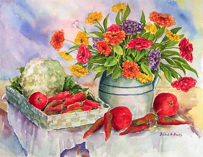 Cauliflower Painting - Margie's Veggies by Barbel Amos