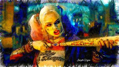 Batman Digital Art - Margot Robbie Playing Harley Quinn  - Pencil Style -  - Da by Leonardo Digenio