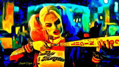 Baseball Digital Art - Margot Robbie Playing Harley Quinn  - Van Gogh Style -  - Da by Leonardo Digenio