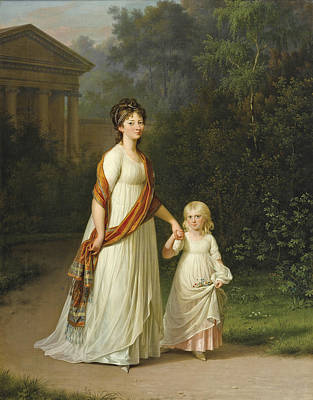 Painting - Marie-sophie-frederikke Princess Of Denmark And Her Daughter Princess Caroline by Jens Juel