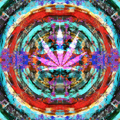 Mandala Digital Art - Marijuana by Sumit Mehndiratta