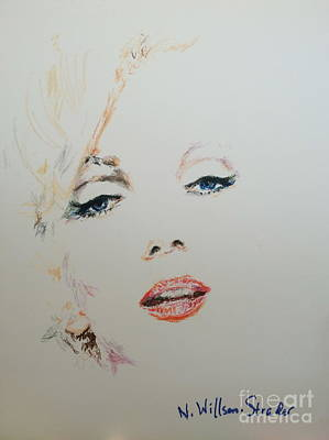 Norma Jean Drawing - Marilyn, Charcoal And Oil Pastels by N Willson-Strader