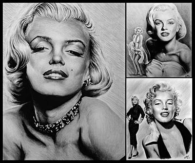 Marilyn Drawing - Marilyn Collage 2 by Andrew Read