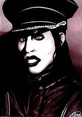 Marilyn Drawing - Marilyn Manson Portrait by Alban Dizdari