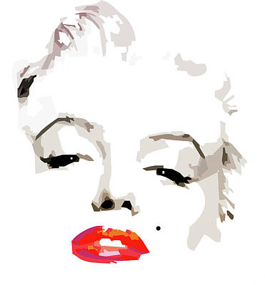 Movie Star Drawing - Marilyn Monroe Minimalist by Quim Abella