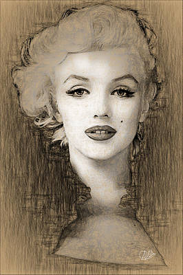 Marilyn Drawing - Marilyn Monroe Divine  by Quim Abella