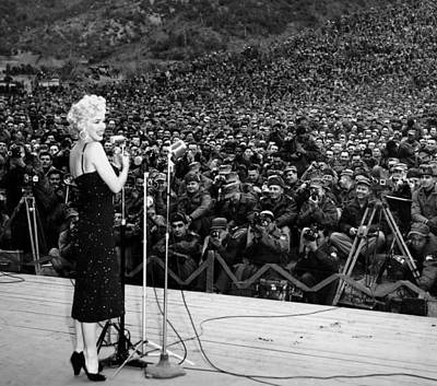 Marilyn Monroe Entertaining The Troops In Korea Print by American School