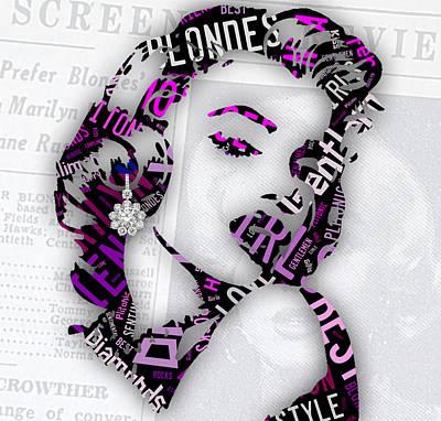 Gold Mixed Media - Marilyn Monroe Gentlemen Prefer Blondes by Marvin Blaine