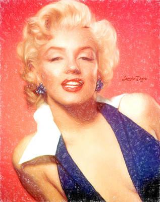 Glamour Digital Art - Marilyn Monroe  - Pencil Style -  - Da by Leonardo Digenio