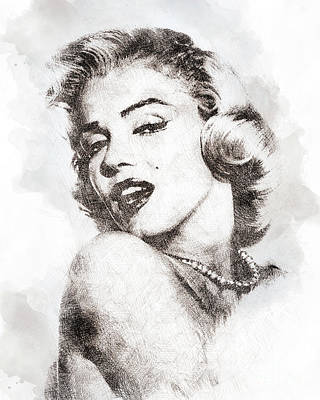 Marilyn Monroe Portrait 01 Print by Pablo Romero