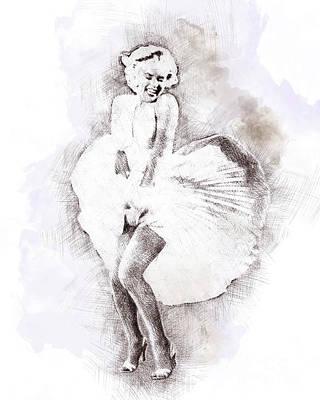 Marilyn Monroe Portrait 03 Print by Pablo Romero