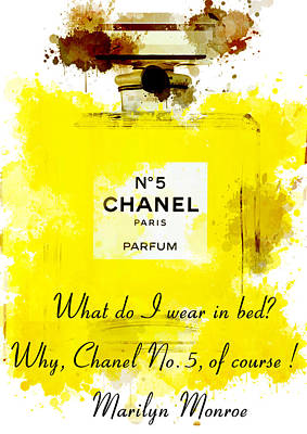 Marilyn Painting - Marilyn Monroe Quotes 5 About Chanel No. 5  by Diana Van