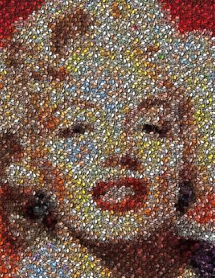 Marilyn Monroe Skull Mosaic Print by Paul Van Scott