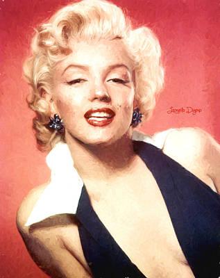 Head Digital Art - Marilyn Monroe  - Van Gogh Style -  - Da by Leonardo Digenio
