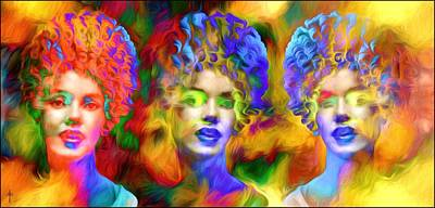 Vivid Colors Photograph - Marilyn Three Faces Of A Color Queen  - Sunset  by Daniel  Arrhakis