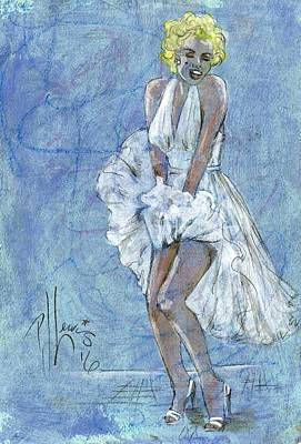 Marilyn Monroe Drawing - Marilyn's White Dress by P J Lewis
