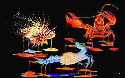 Blue Crab Painting - Marine Collage On Black by Ken Figurski