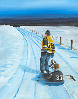 Snow Hockey Painting - Mario And The Kid by Ron  Genest