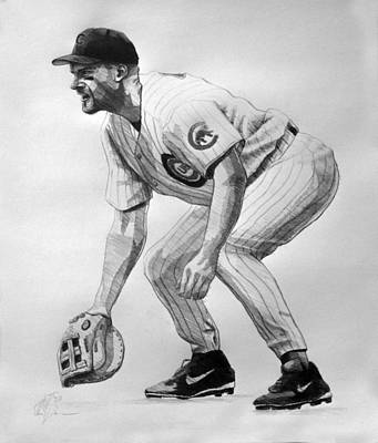 Chicago Baseball Drawing - Mark Grace by Adam Barone