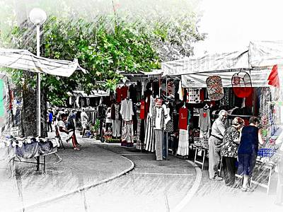 Daily Life Digital Art - Market Day Tavernelle Umbria by Dorothy Berry-Lound
