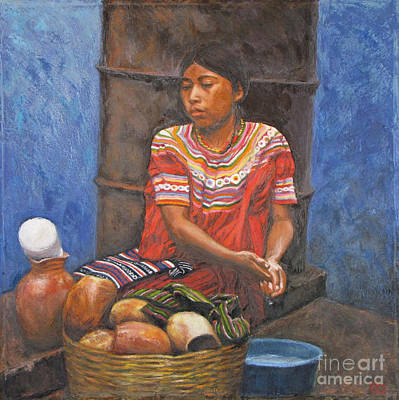 Market Girl Selling Atole Print by Judith Zur