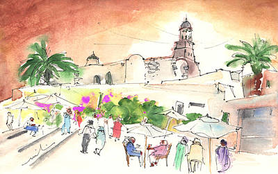 Canary Drawing - Market In Teguise In Lanzarote 02 by Miki De Goodaboom