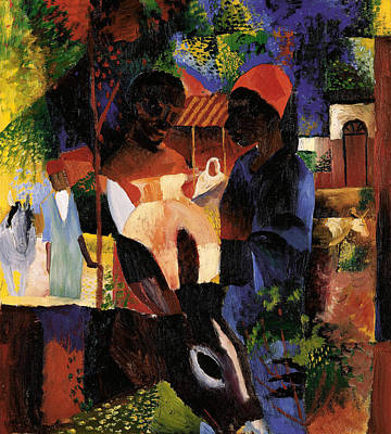 Abstract - Expressionist - African Art Painting - Market In Tunis by August Macke