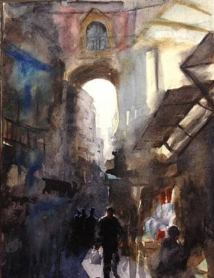 Watercolor Painting - Market Place by Arvind Guduri