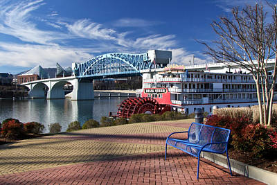 Market Street Bridge With The Delta Queen From Coolidge Park Print by Tom and Pat Cory