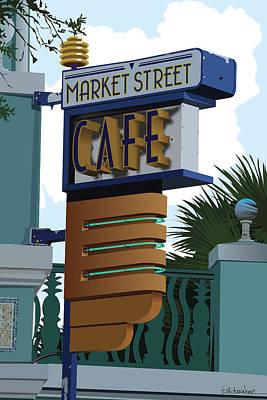Market Street Cafe Print by Bill Dussinger