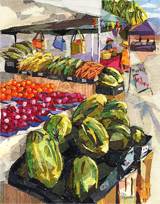 Watermelon Mixed Media - Market Today by Patricia Presseller