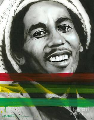 Flower Power Painting - Bob Marley - ' Marley ' by Christian Chapman Art