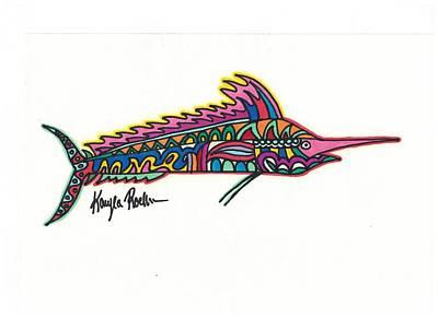 Swordfish Drawing - Marlin by Kayla Roeber