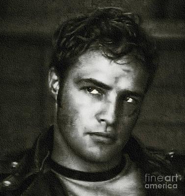 Marlon Brando - Painting Print by Ian Gledhill