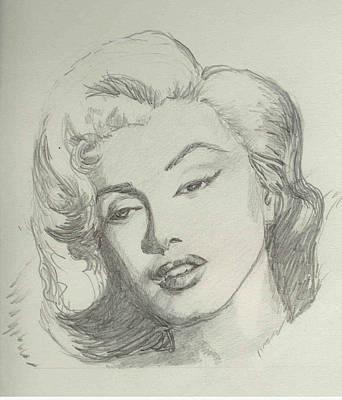 Munroe Drawing - Marlyn Munroe by Asha Sudhaker Shenoy