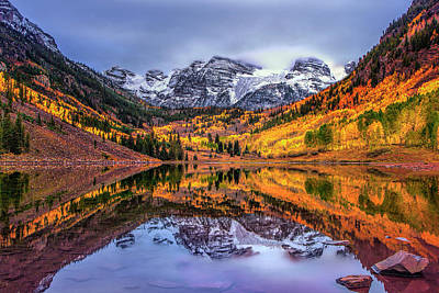 Yellow Photograph - Maroon Bells Autumn by Andrew Soundarajan