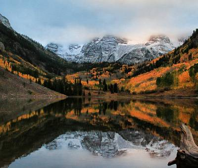 Maroon Bells Reflection In Autumn Print by Dan Sproul