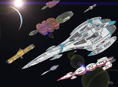 Space Ships Mixed Media - Mars Europa Convoy 132 Arriving by Ronald Woods