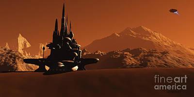 Urban Canyon Digital Art - Mars Habitat by Corey Ford
