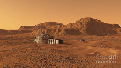 Rendition Digital Art - Mars Outpost Near Mesa by Walter Myers