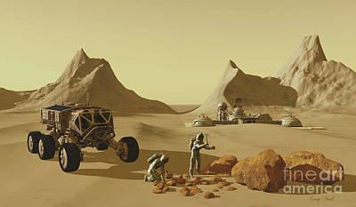 Urban Canyon Digital Art - Mars Planet Explorers by Corey Ford