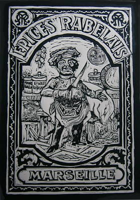 Lino Cut Painting - Spice Of France by Mike Moss