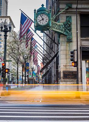 Historic Chicago Photograph - Marshall Field Clock Chicago by Steve Gadomski